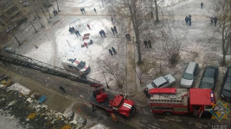 В Новополоцке случился пожар в девятиэтажке