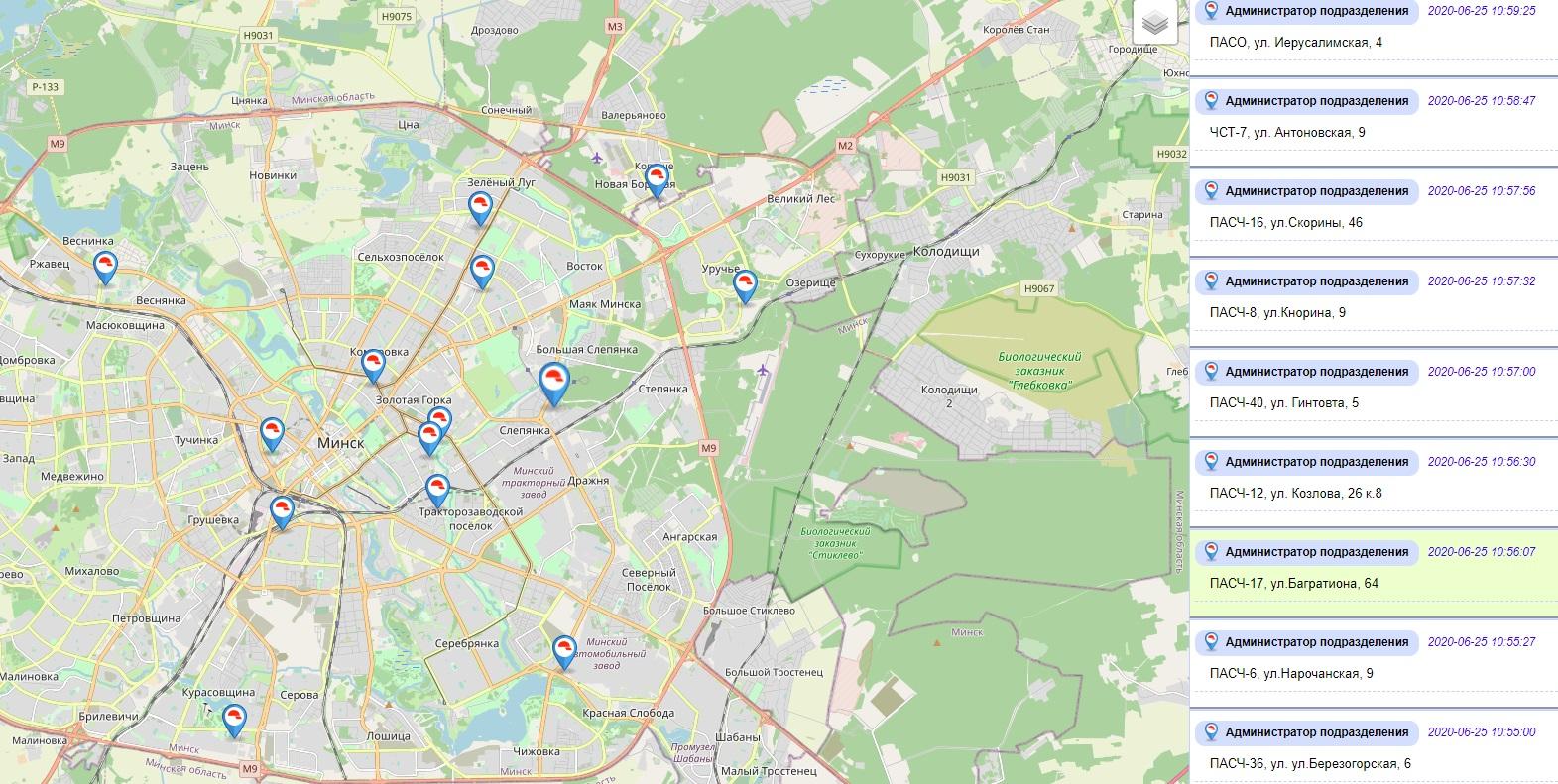 МЧС сделало карту подразделений Минска, где можно набрать воды