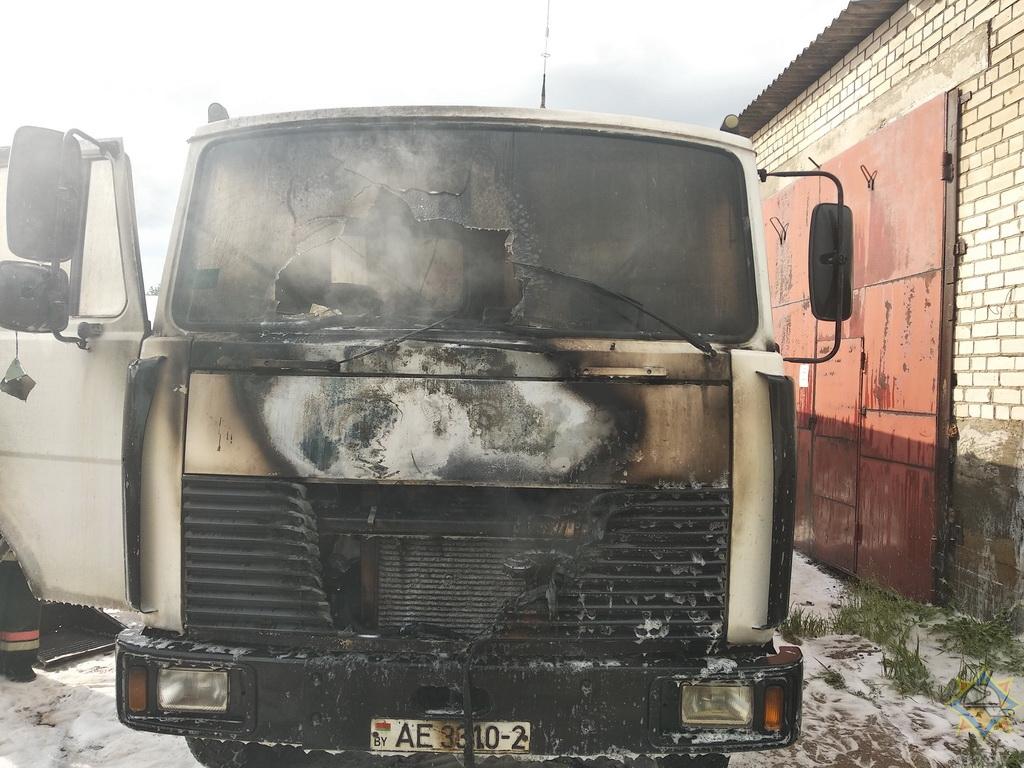 МАЗ горел в Новополоцке