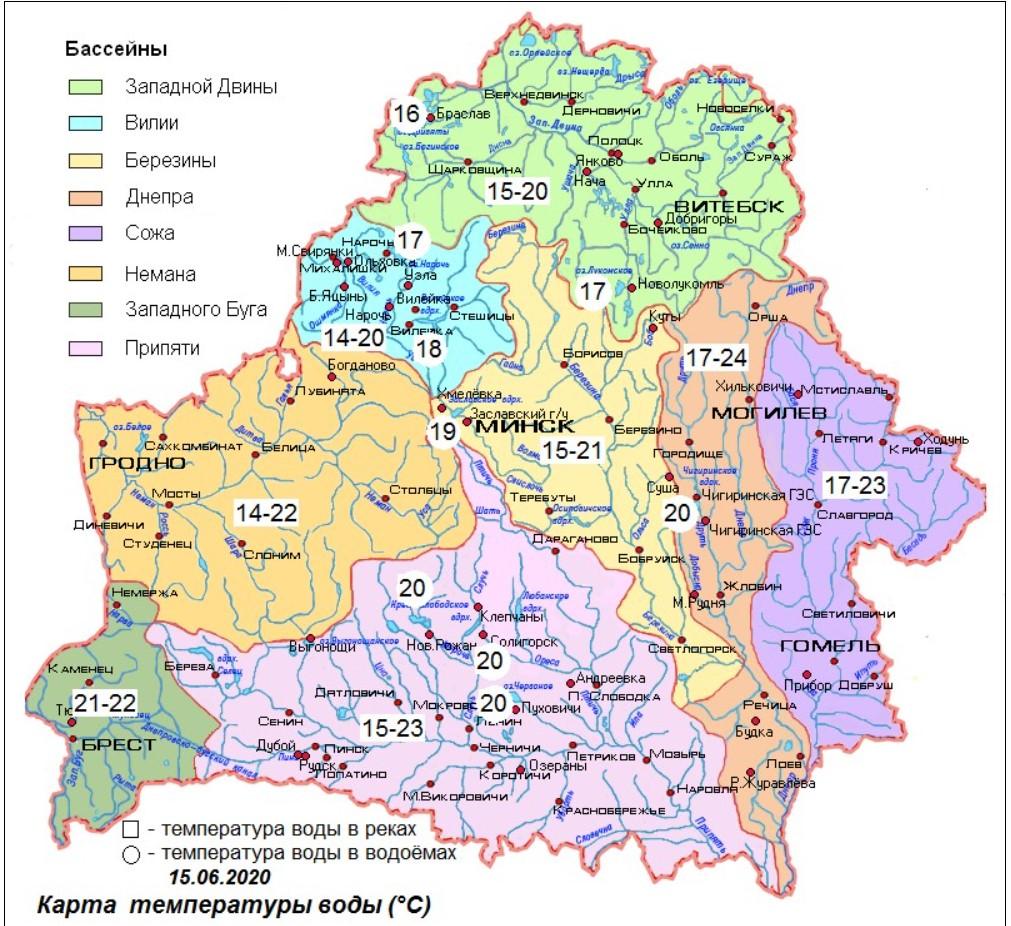 Вода в реках и озерах Беларуси прогрелась местами до +24°С