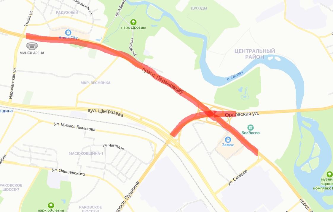 В Минске закрывают проезд по путепроводу на Орловской и части проспекта Победителей