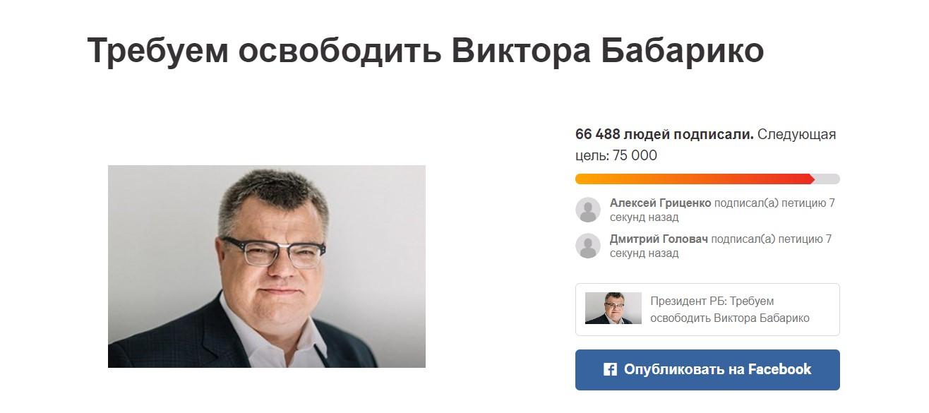 Беларусы массово подписывают петицию за освобождение Бабарико
