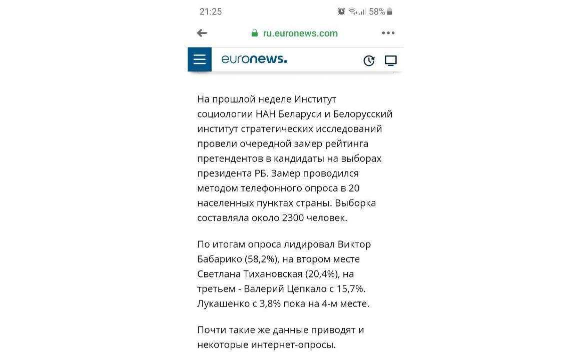 Euronews извинился за фейк о рейтингах кандидатов на выборах в Беларуси