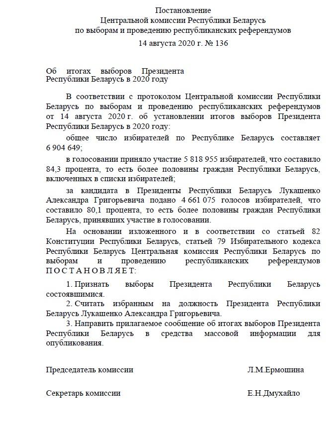 Лукашенко: Около 6 млн человек проголосовали за действующую власть